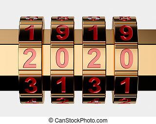 Golden 2020 Year combination lock