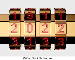 3d render of golden 2022 Year combination lock