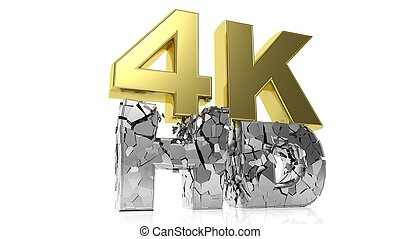 Golden 3D 4K and silver cracked HD symbols isolated