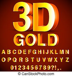 Golden 3D Alphabet and Numbers