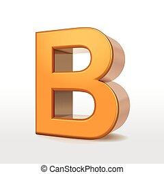 golden 3d alphabet B