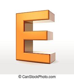 golden 3d alphabet E
