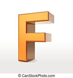 golden 3d alphabet F