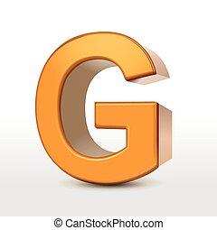 golden 3d alphabet G