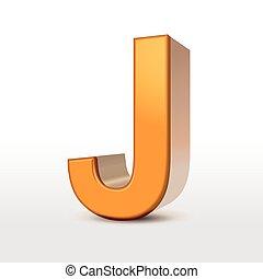 golden 3d alphabet J