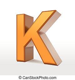 golden 3d alphabet K