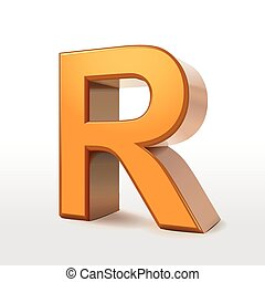 golden 3d alphabet R