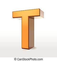 golden 3d alphabet T