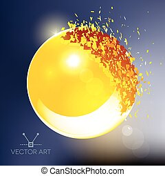Golden 3D ball exploded into pieces