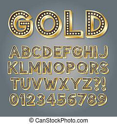 Golden 3D Broadway Alphabet and Numbers, Eps 10 Vector...
