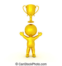 Golden 3D Character with gold trophy above him