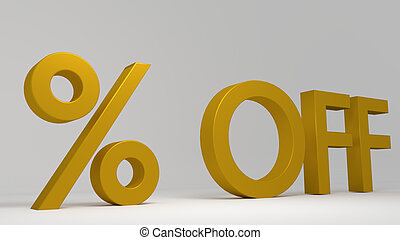 Golden 3D number. Rendering of the percentage sign in gold on a white background. Lights and shadows. Rendered illustration.