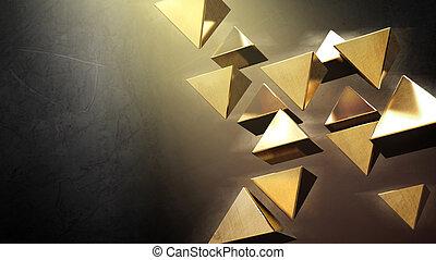 Golden 3D pyramids