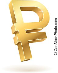 Golden 3D ruble vector sign isolated on white background.