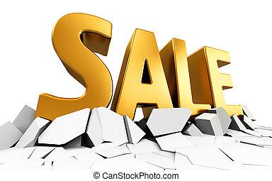 Golden 3D Sale word text