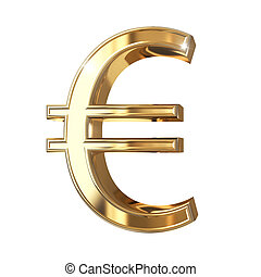 Golden 3D symbol with clipping path isolated on white background