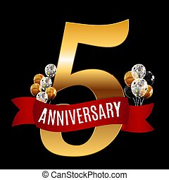 Golden 5 Years Anniversary Template with Red Ribbon Vector Illustration