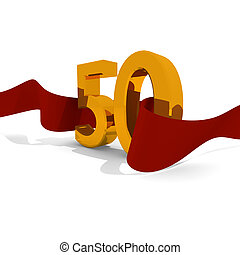 Golden 50 - Jubilee concept, golden 50 with a red ribbon
