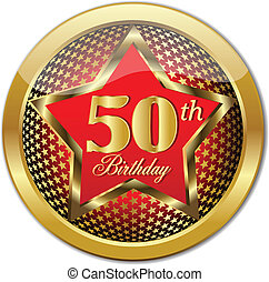 Golden 50 Th Birthday button. Vector