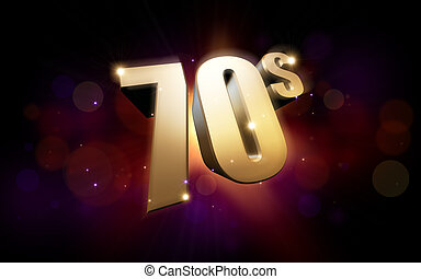 golden 70s - 3d rendered illustration of golden 70s numbers...