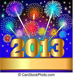 gold(en), año, plano de fondo, nuevo, número, saludo