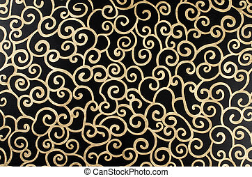 Golden abstract seamless arabesque on black background.