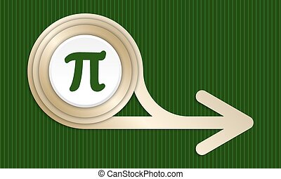Golden abstract arrow and pi symbol