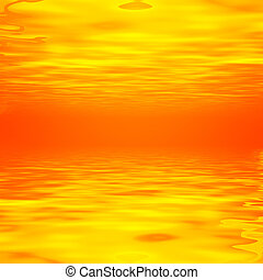 Golden abstract background with waves and horizon