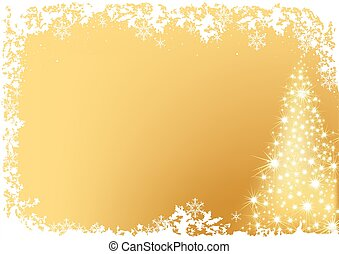 Golden Abstract Christmas Tree - christmas background illustration