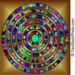 golden abstract circles - abstract colored image of circle...