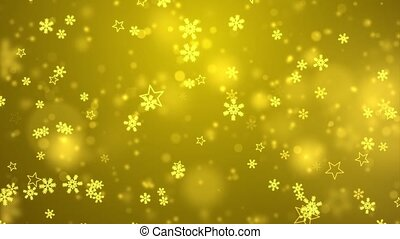 Golden Abstract falling snowflakes isolated on loop 4K ...