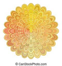 Golden abstract floral mandala design - vector digital art...