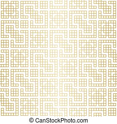 Golden abstract geometric Jacquard pattern with rhombus and squares vector illustration
