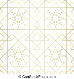 Golden abstract geometric pattern with rhombus, triangles and squares vector illustration
