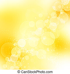 Golden abstract romantic background with hearts and sparkle