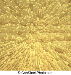 Golden abstract square shape geometric background.