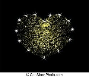 Golden abstract Vector Heart with light. Love the gold Dust with a glare. Design element isolated on dark background.