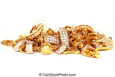 golden accessories isolated