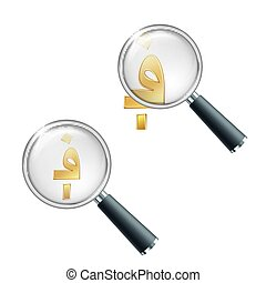 Golden Afghan afghani currency sign with magnifying glass. Search or check financial stability. Vector illustration isolated on white background