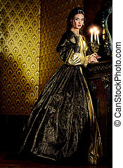 golden age - Renaissance Style - beautiful young woman in...