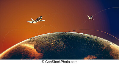 golden airplanes fligh around the world above metal earth in colorful orange-blue skies on golden trails. vip luxury golden travel busines transportation concept illustration 3d render