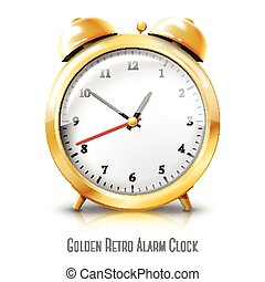 Golden alarm clock isolated on white background. Vector
