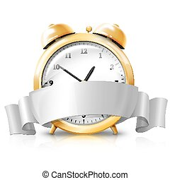 Golden alarm clock with silver white banner -Sale Time- ....