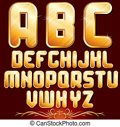 Golden Alphabet. Set of Metallic Letters.