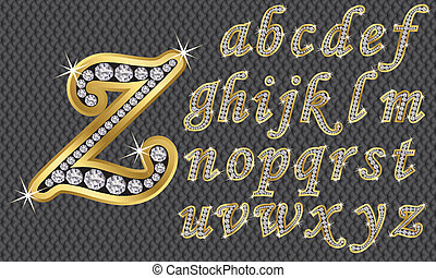 Golden alphabet with diamonds, letters from A to Z, vector...