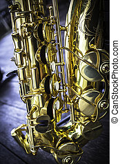 Golden alto saxophone closeup
