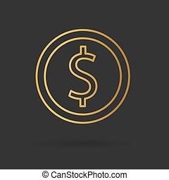 golden american dollar coin- vector illustration