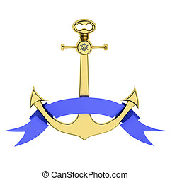 Golden anchor with ribbon
