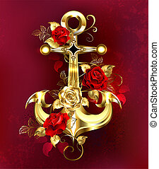 Golden anchor with roses