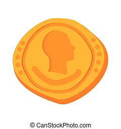 Golden ancient Roman gold coin icon isolated on white background. Vector illustration